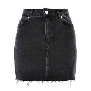 Topshop Moto Black Denim Distressed Skirt